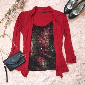 Elementz Blouse w/ Attached Cardigan in Red SZ L